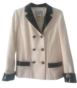 Chanel Patent Leather Jacket Double Breasted Wool Cream Blazer