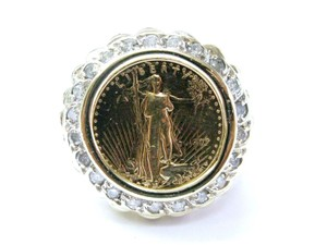Other Fine 5 Dollar Gold Coin Diamond Yellow Gold Jewelry Ring .63CT