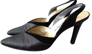 Saint Laurent Vintage Satin Velvet Slingback Black Pumps