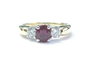 Other 18Kt Gem Ruby Diamond Yellow Gold 3-Stone Ring 1.03CT