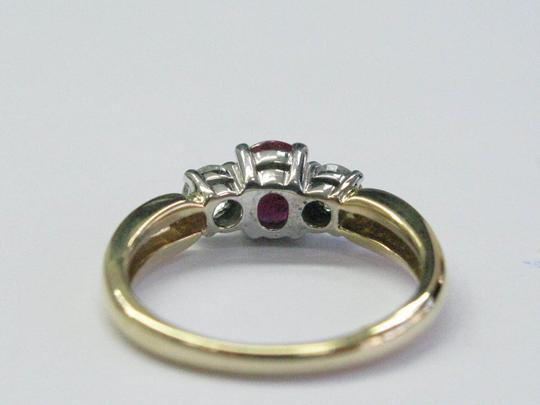 Other 18Kt Gem Ruby Diamond Yellow Gold 3-Stone Ring 1.03CT Image 3