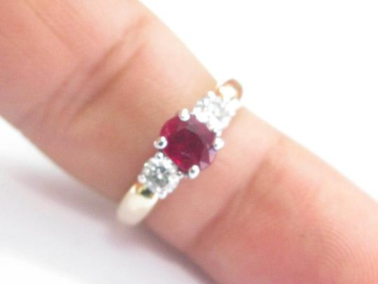 Other 18Kt Gem Ruby Diamond Yellow Gold 3-Stone Ring 1.03CT Image 4