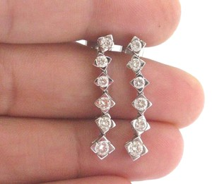 Other 18Kt Round Cut Diamond White Gold Drop Earrings 1.25