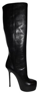 Saint Laurent Ysl Platform Tribtoo Knee High Heels Black Boots