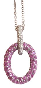 Other 18Kt Pink Sapphire & Diamond Circular Pave White Gold Pendant Necklace