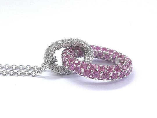 Other 18Kt Pink Sapphire & Diamond Circular Pave White Gold Pendant Necklace Image 1