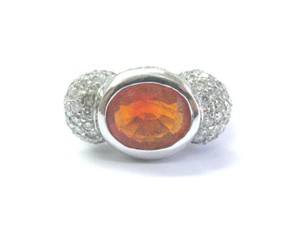 Other Fine Fire Opal Diamond White Gold Jewelry Ring 14Kt 4.20Ct