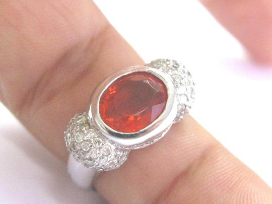Other Fine Fire Opal Diamond White Gold Jewelry Ring 14Kt 4.20Ct Image 3