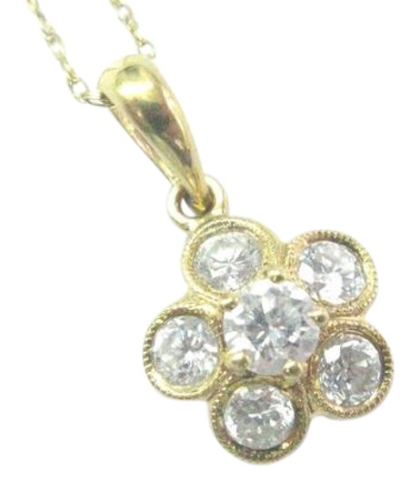 Other 18Kt Round Cut Diamond Circular Yellow Gold Pendant Necklace .56Ct 20