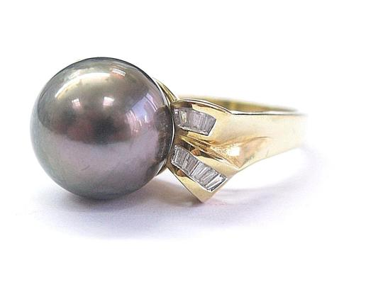 Other 18Kt Black Pearl & Baguette Diamond Yellow Gold Jewelry Ring 12.4mm .3 Image 1