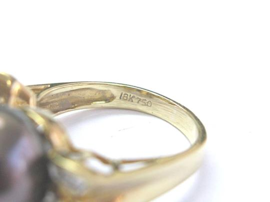 Other 18Kt Black Pearl & Baguette Diamond Yellow Gold Jewelry Ring 12.4mm .3 Image 3