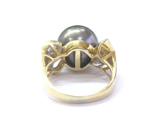 Other 18Kt Black Pearl & Baguette Diamond Yellow Gold Jewelry Ring 12.4mm .3 Image 4