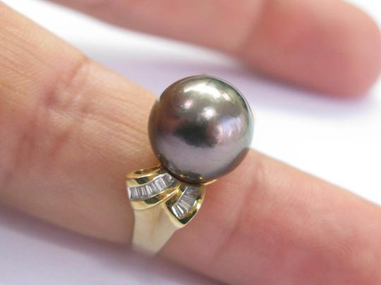 Other 18Kt Black Pearl & Baguette Diamond Yellow Gold Jewelry Ring 12.4mm .3 Image 5