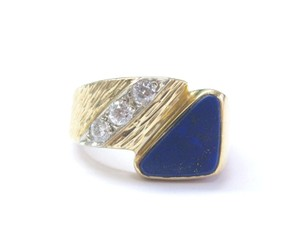 Other Vintage Mens Lapis Old European Diamond Yellow Gold Jewelry Ring 14KT