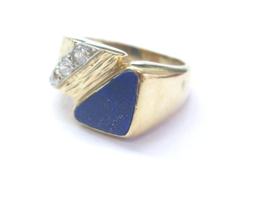 Other Vintage Mens Lapis Old European Diamond Yellow Gold Jewelry Ring 14KT Image 1