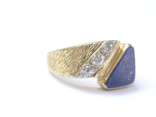Other Vintage Mens Lapis Old European Diamond Yellow Gold Jewelry Ring 14KT Image 2