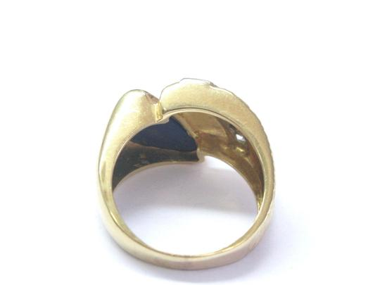 Other Vintage Mens Lapis Old European Diamond Yellow Gold Jewelry Ring 14KT Image 3