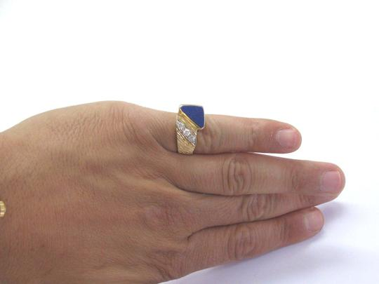 Other Vintage Mens Lapis Old European Diamond Yellow Gold Jewelry Ring 14KT Image 4