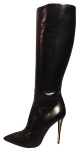 Saint Laurent Ysl Heels Knee High Clara Black Boots