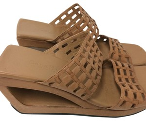 Cole Haan Leather Sandals Summer Sandals Wedge Sandals Basket Weave tan Mules