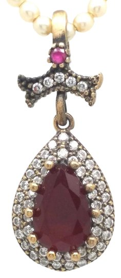 Elle Cross ELLE CROSS PEAR RUBY ZIRCON EMERALD HALO 925 STERLING SILVER PENDANT Image 0