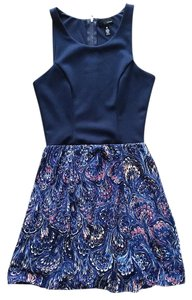 Aqua short dress Navy Fitted Paisley Racer-back on Tradesy