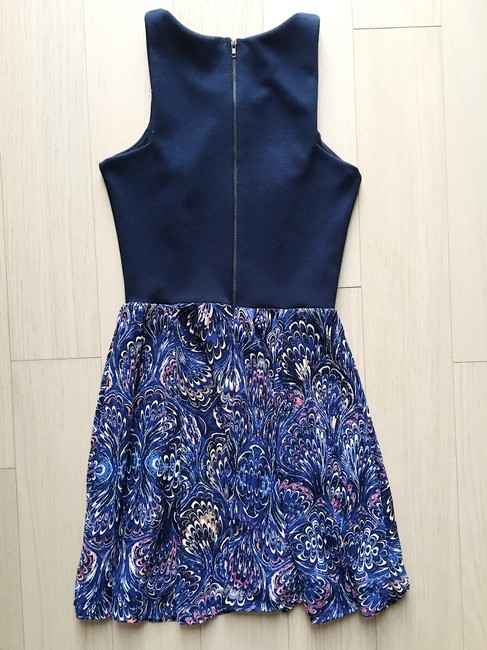 Aqua short dress Navy Fitted Paisley Racer-back on Tradesy Image 1