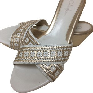 Cole Haan Summer Sandals Woven Weave white and gold Wedges