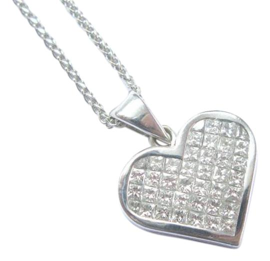 Preload https://img-static.tradesy.com/item/21107805/18kt-princess-cut-diamond-white-gold-heart-pendant-16-100ct-necklace-0-1-540-540.jpg