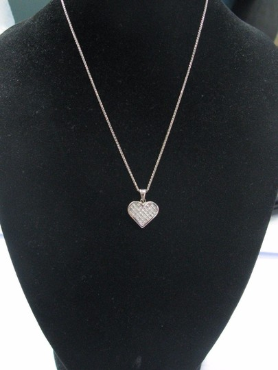 Other 18Kt Princess Cut Diamond White Gold Heart Pendant Necklace 16