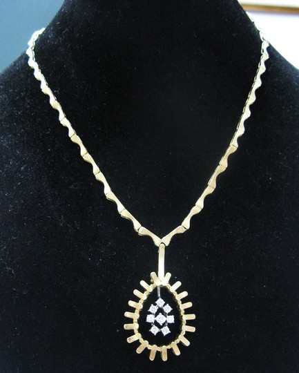 Other Fine Designer Diamond Pear Design Necklace Solid Yellow Gold 14KT .55C Image 3