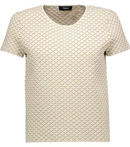 Theory Boxy Jacquard Knit New With Tags T Shirt Beige