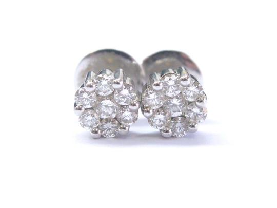 Other 18Kt Round Cut Diamond Circular Cluster White Gold Stud Earrings 7.8mm Image 0