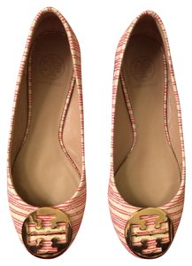 Tory Burch Red and White Stripe Flats
