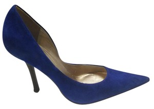 Guess By Marciano Pointed Toe Stacked Heel Leather Upper Suede blue Pumps