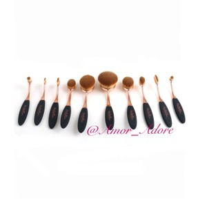 Amor Adore Black/Rose Evolution Oval 10PC Brush Set
