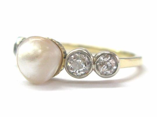 Other Fine Old European Cut Diamond Pearl Anniversary Ring .70CT 7mm Image 1