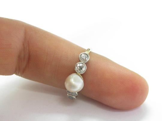 Other Fine Old European Cut Diamond Pearl Anniversary Ring .70CT 7mm Image 3