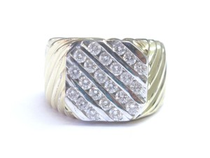 Other Fine Men's 5-Row Round Cut Diamond Yellow Gold Jewelry Ring 14KT 1.20C