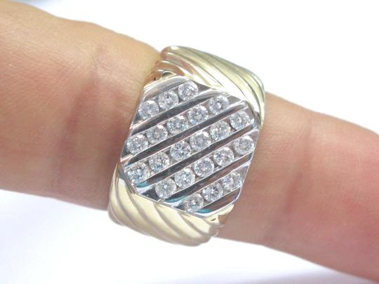 Other Fine Men's 5-Row Round Cut Diamond Yellow Gold Jewelry Ring 14KT 1.20C Image 4