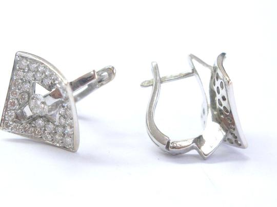 Other Fine Round Brilliant Diamond Tension & Pave Setting Square Huggie Earr Image 1