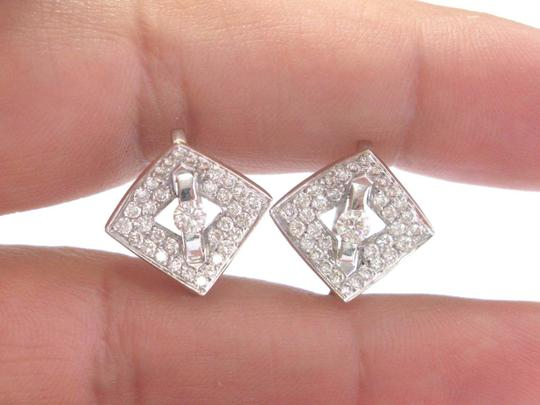 Other Fine Round Brilliant Diamond Tension & Pave Setting Square Huggie Earr Image 4