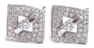 Other Fine Round Brilliant Diamond Tension & Pave Setting Square Huggie Earr