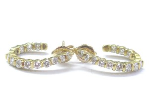 Other 18Kt Inside Out Diamond Hoop Earrings Yellow Gold 24-Stones 1.00Ct 19.