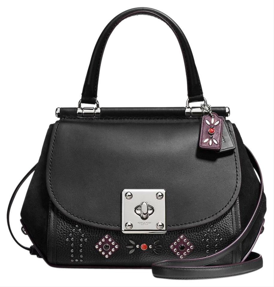 Coach Drifter Western Rivets Top Handle Black Leather