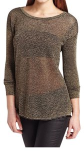 Bardot Metallic Gold Black Fishnet Tunic