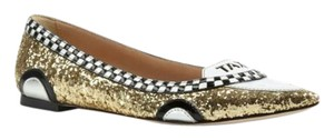 Kate Spade Gold Glitter, White, Black Flats