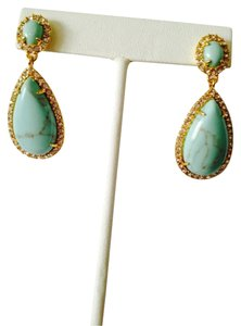 Ralph Lauren Turquoise & Crystal Gold Teardrop Dangle Earrings