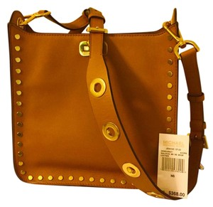 Michael Kors Studded Grommets Numerous Pockets Acorn Messenger Bag