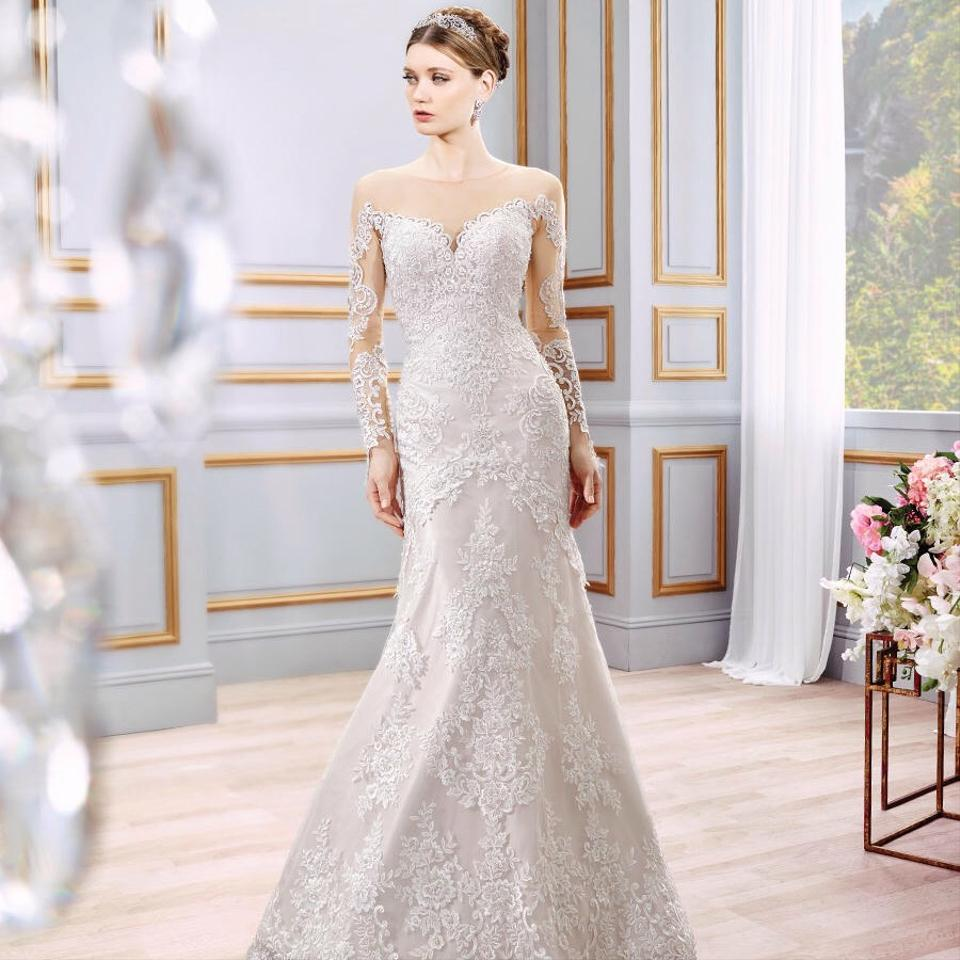 Moonlight Bridal Ivory Lace/Taupe Lining/ Nude Mesh Sleeves/Back ...